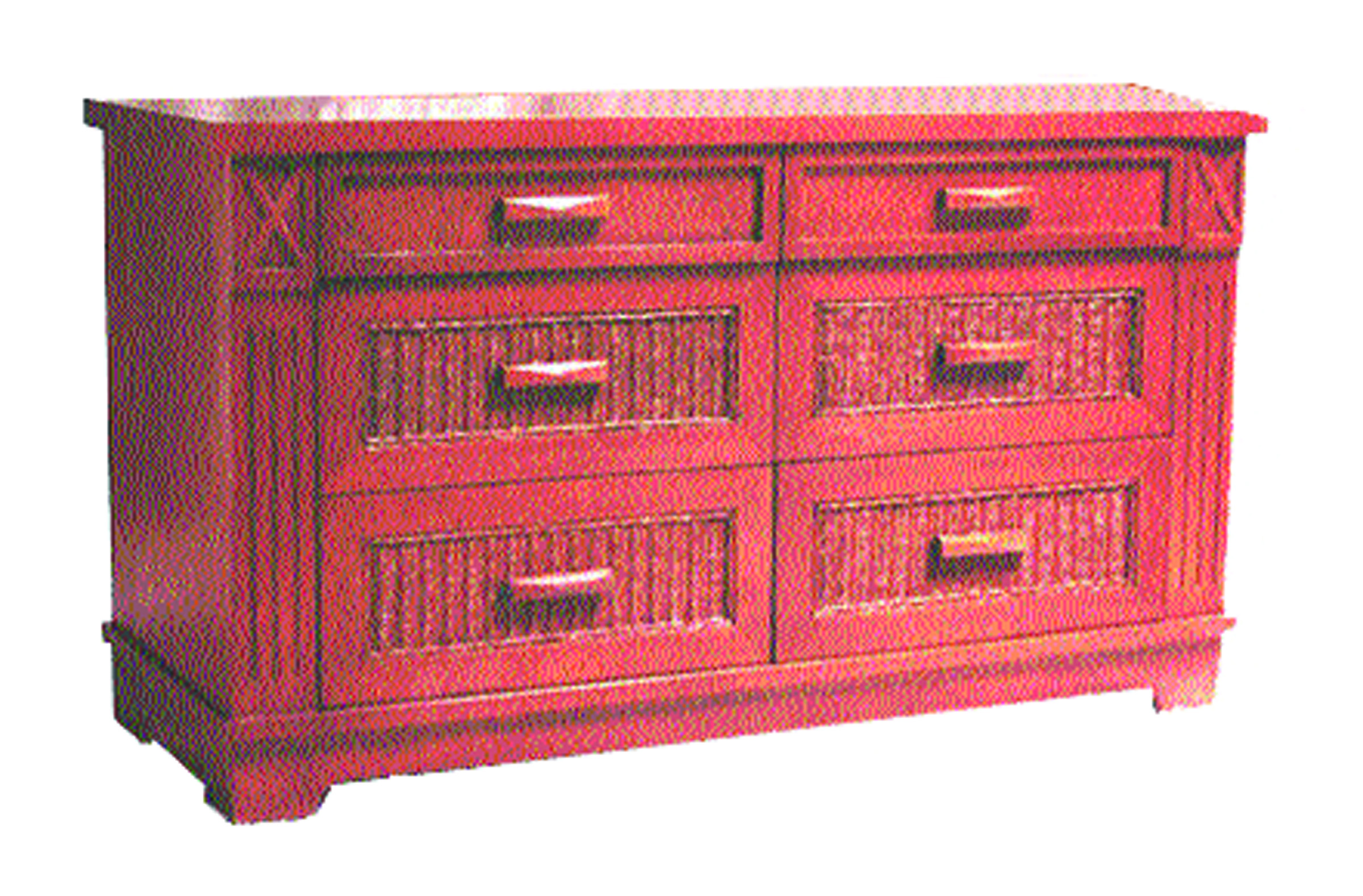 FB-2034-A Wood Wicker 6 Drawer Dresser